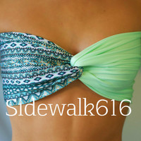 Tribal Mint Bandeau Top Spandex Bandeau Bikini Swimsuit