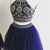Homecoming Dresses Cute Two Pieces Halter Royal Blue Tulle Beading Homecoming Dresses