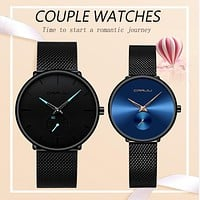 CRRJU Lover's Watches for Men and Women Fashion Dress Wristwatch Waterproof Date Clock Couple Watch Gifts Set for Sale