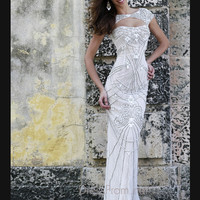 Cap Sleeved Cut Out Neckline Formal Prom Gown By Sherri Hill 11180