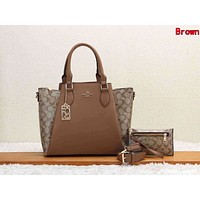 Coach Classic Women Retro Leather Handbag Tote Shoulder Bag Purse Wallet Set Two-Piece Brown