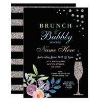 Bridal Shower Brunch & Bubbly Silver Flower Invite