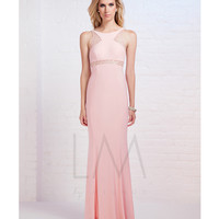 LM by Mignon HY1221 Pink Beaded Illusion High Neck Gown 2015 Prom Dresses