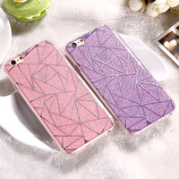 For iPhone 6 6S Plus Cover Case Glitter Powder Silver Rhombus Soft TPU & Hard PC Mobile Phone Case For iPhone 7 7 Plus 6 6S Capa