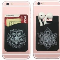 Floral stick-on wallet pocket for Iphone and Android devices. Works as a phone wallet and card holder for all smartphones, now you can have a phone pocket on your phone (2pc)