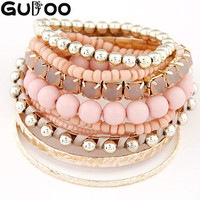 9pcs/set Designer Bohemian Candy Color Multilayer Beads Bracelet Bangles jewelry for women 2015 gift pulseras mujer wrist band