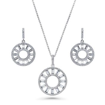 Sterling Silver CZ Open Circle Sun Necklace and Earrings SetBe the first to write a reviewSKU# vs543-01