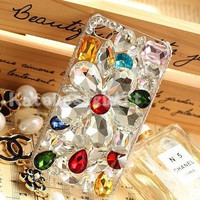 flower crystal iphone case - bling bling iphone 4s cases, unique iphone 5 case, iphone 4 cases