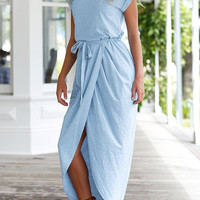 Blue Short Sleeve Self Tie Split Hem Wrap High Low Maxi Dress