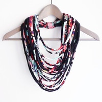 Black colorful necklace neck ornament loop scarf infinity scarf round scarf multi-coloured