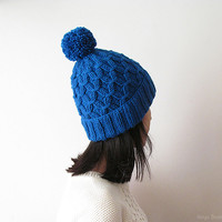 Hand Knitted Hat in Blue - Beanie with Pom Pom - Seamless - Wool Blend - Ready to Ship