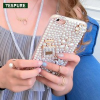 YESPURE Pearl Fancy Phone Cases for Girls Luxury Perfume Case for Iphone 6plus Mobile Phone Shell Accessories for Iphone 6s Plus