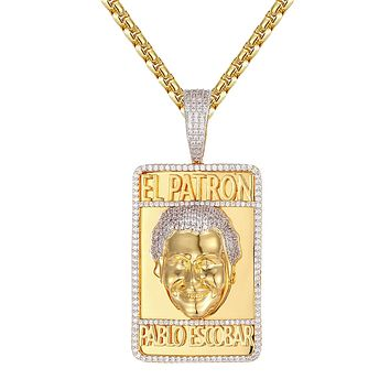 Mens EL Patron Pablo Escobar Dog Tag HipHop Pendant