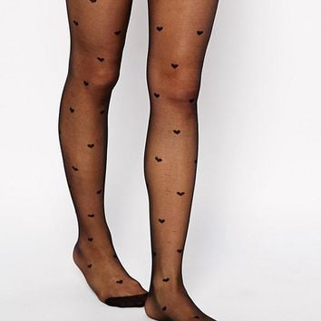 ASOS 20 Denier All Over Heart Design Tights at asos.com