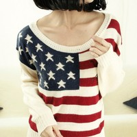 Knitted US Flag Shirt for Women W8-10-3