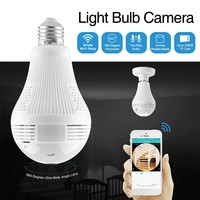 SANNCE 360 degree 960P Wireless IP Camera Bulb Light FishEye Smart Wireless CCTV Camera 1.3MP Panoramic Security WiFi Camera