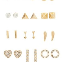 Gold Modern Classic Stud Earrings - 12 Pack by Charlotte Russe