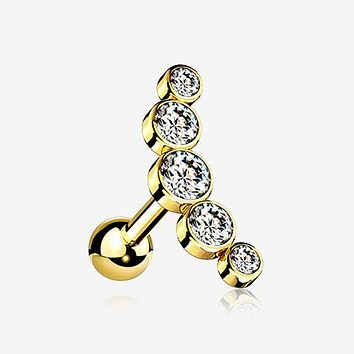 Golden Journey Sparkle Curve Cartilage Tragus Barbell Earring