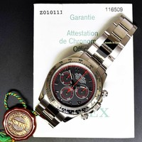 Rolex Mens Daytona 18k White Gold Black Dial Automatic Watch Box/Papers 116509