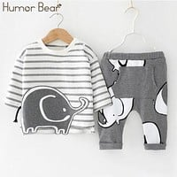 Humor Bear Baby Boys Clothes Baby Boys Clothing Sets Cartoon Style Long Sleeve + Pants 2PCS Suits