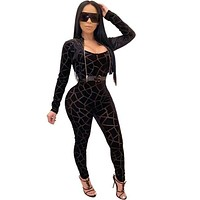 Women Sexy Black Printed Two Piece Jacket Jumpsuit Set