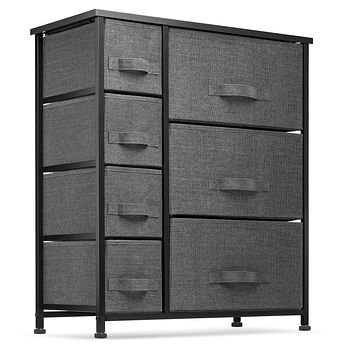 7 Drawers Dresser - Furniture Storage Tower Unit for Bedroom, Hallway, Closet, Office Organization - Steel Frame, Wood Top, Easy Pull Fabric Bins Black/Charcoal Black / Charcoal