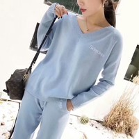 """Balenciaga"" Women Casual Fashion Letter Embroidery V-Neck Long Sleeve Knit Sweater Trousers Set Two-Piece Sportswear"