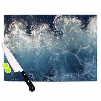 "Suzanne Carter ""Sea Spray"" Navy Ocean Cutting Board"