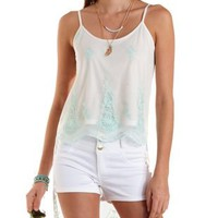 Ivory Combo High-Low Embroidered Mesh Tank Top by Charlotte Russe