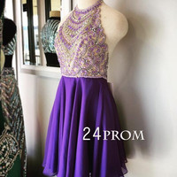 Purple A-line Beaded Short Prom Dress, Homecoming Dress