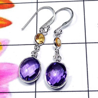 20% Off Sales Amethyst Earring, Citrine Earrings, Bezel Set Earrings, Dainty Earrings, Women Gift Earrings, 925 Silver Earring, Gift Earring