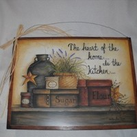 Heart of the Home Is the Kitchen Country Wall Art Sign Stars Jars Baskets Boxes