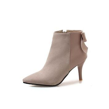 Pointed Toe Bow Tie Zipper Women's High Heeled Ankle Boots