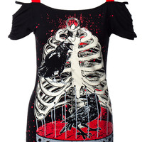 BANNED RIB AND CROW TOP (BLACK)
