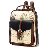 Casual College Style School Bag Graffiti Backpack