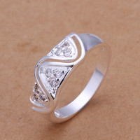 Triangle Wave Silver Ring
