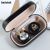 Imixlot Contact Lens Case Cut Animal Glasses Case with Mirror Eyes Contact Lenses Box For Glasses Lens Container Glasses
