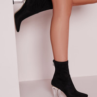 Perspex Faux Suede Clear Heel Ankle Boots