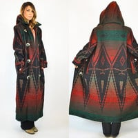 bohemian WOOLRICH southwestern HOODED navajo maxi blanket COAT, extra small-small
