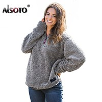 ALSOTO 2018 Sweatshirt Women Long Sleeve Warm Pullover Tops Kawaii Hoodies Women harajuku Outwear Hoodie Moletom Feminino Bts