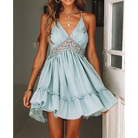 Summer New Women's Explosion Lace Halter Cutout Cotton Wrinkle Deep V Strap Dress