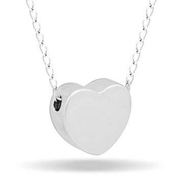 Tiny Heart Necklace, Silver Plated Floating Heart Necklace, Simple Heart Necklace