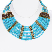 NECKLACE / LUCITE BEAD / METAL BEAD / WOODEN / MULTI STRAND / MULTI LAYER / 2 INCH DROP / 16 INCH LONG / NICKEL AND LEAD COMPLIANT