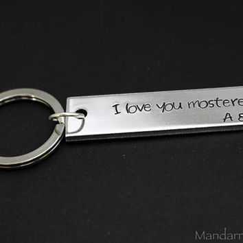 I Love You Mosterest Hand Stamped Aluminum Keychain with Custom Initials, Wedding Gift for Couples, His Hers Anniversary