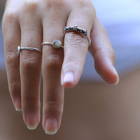 Delicately Granulated Solid Sterling Ring