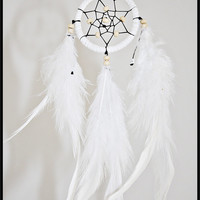 Small White Handmade Dreamcatcher From Canary Islands - Perfect Size For Hanging In Your Car