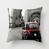 London Union Jack Taxi. Throw Pillow by Becky Dix | Society6