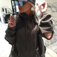 Drawstring Hoodie Sleeve Cut Out Sweater