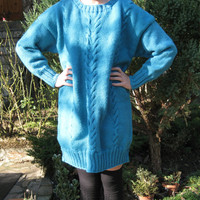 Hand Knitted Long Sleeved Sweater,Turquoise Oversize Sweater,Long Boyfriend Jumper,Womens Autumn Winter Fashion,Knit Cables,Stitch Pattern