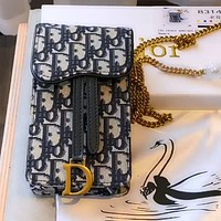 Dior simple retro embroidered old canvas canvas chain phone case